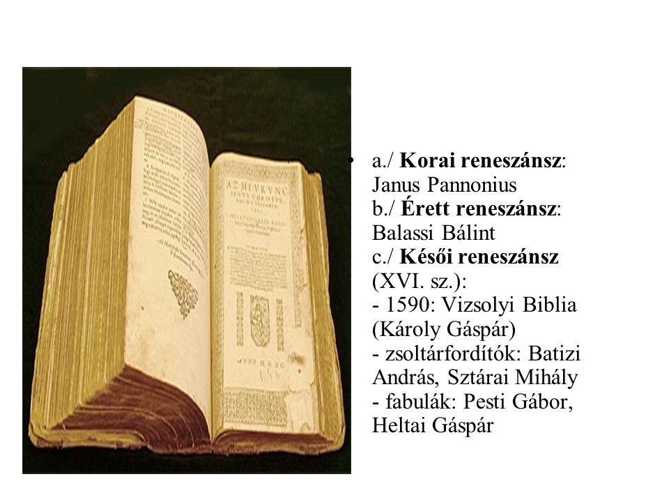 a. / Korai reneszánsz: Janus Pannonius b