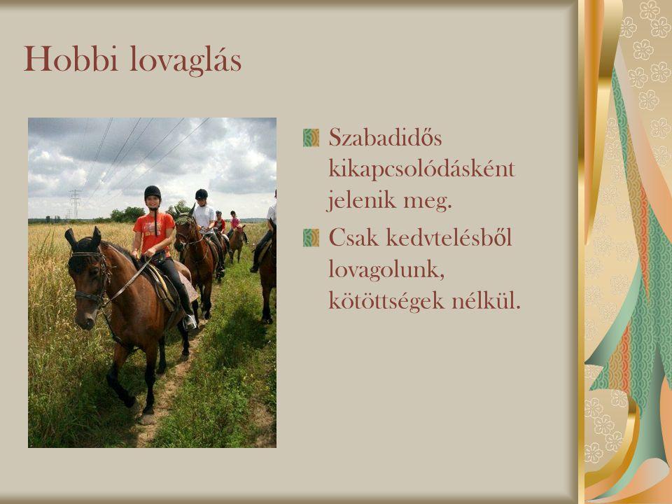 Hobbi lovaglás Szabadidős kikapcsolódásként jelenik meg.