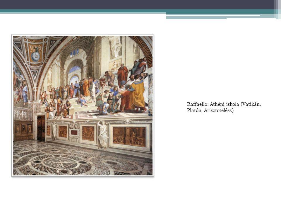 Raffaello: Athéni iskola (Vatikán, Platón, Arisztotelész)