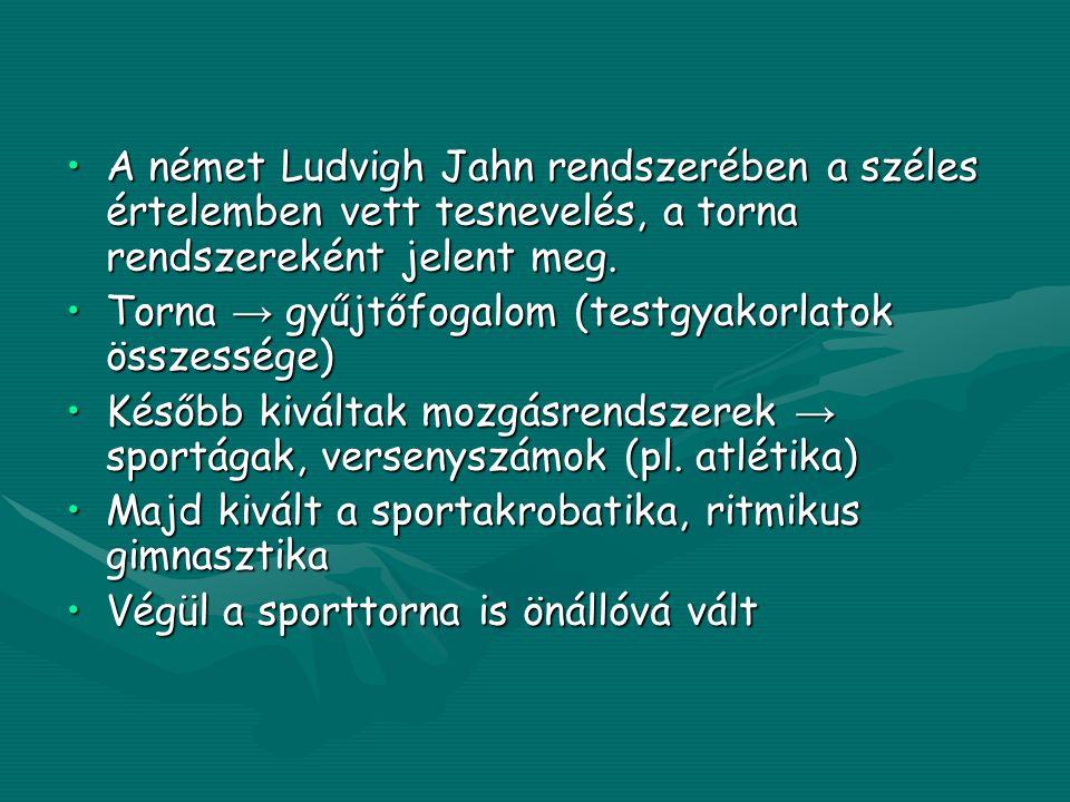 A német Ludvigh Jahn rendszerében a széles értelemben vett tesnevelés, a torna rendszereként jelent meg.