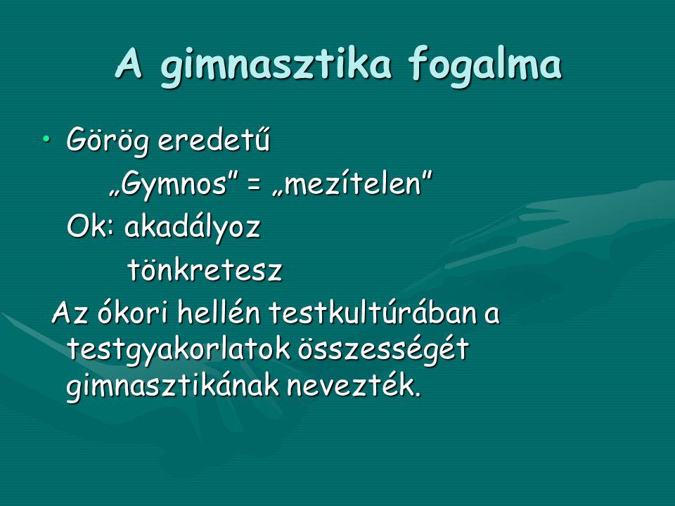 """A gimnasztika fogalma Görög eredetű """"Gymnos = """"mezítelen"""