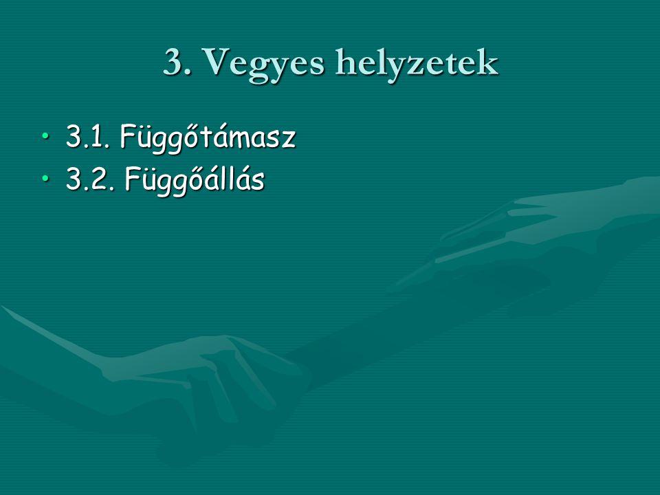 3. Vegyes helyzetek 3.1. Függőtámasz 3.2. Függőállás