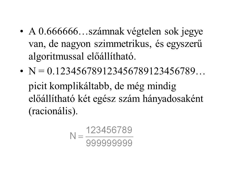 A 0.666666…számnak végtelen sok jegye van, de nagyon szimmetrikus, és egyszerű algoritmussal előállítható.