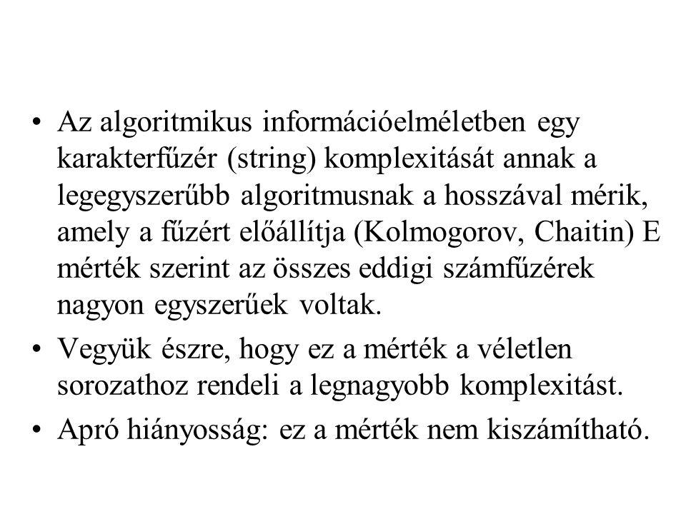 Az algoritmikus információelméletben egy karakterfűzér (string) komplexitását annak a legegyszerűbb algoritmusnak a hosszával mérik, amely a fűzért előállítja (Kolmogorov, Chaitin) E mérték szerint az összes eddigi számfűzérek nagyon egyszerűek voltak.