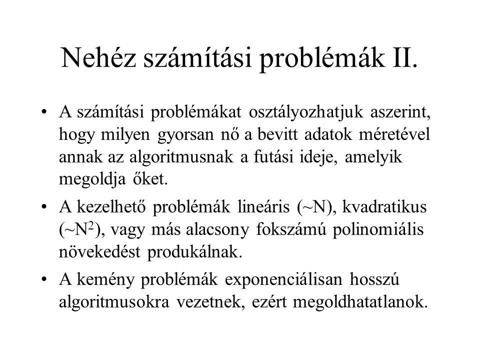 Nehéz számítási problémák II.