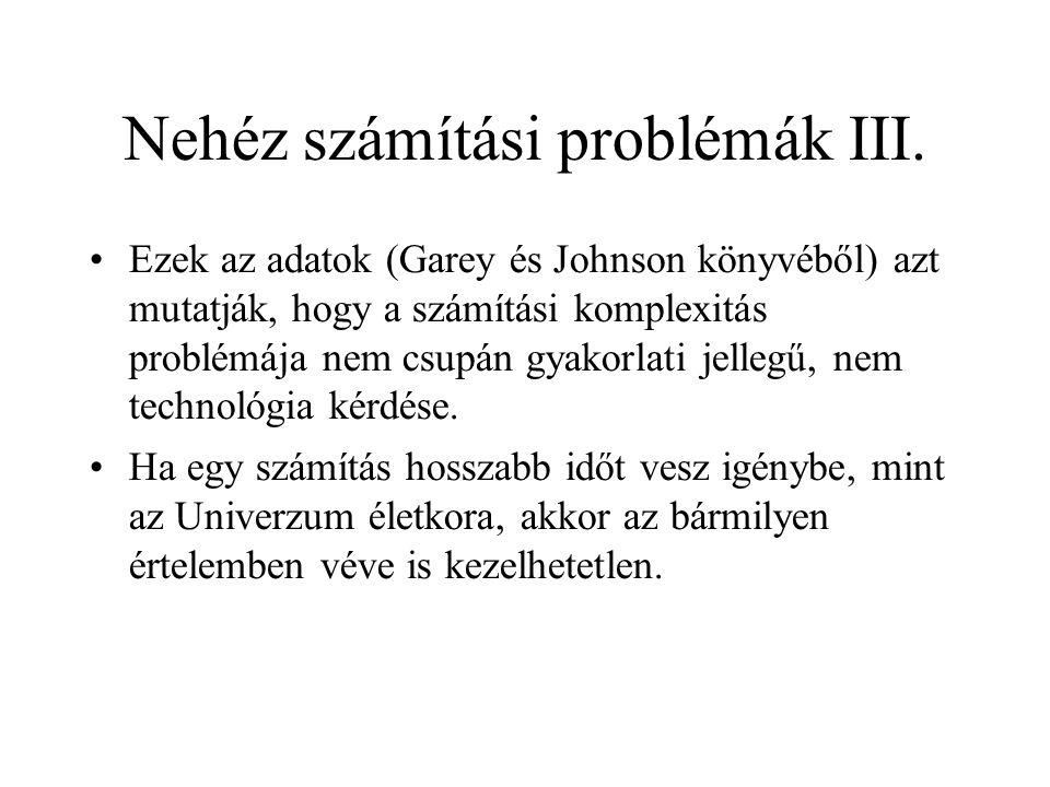 Nehéz számítási problémák III.