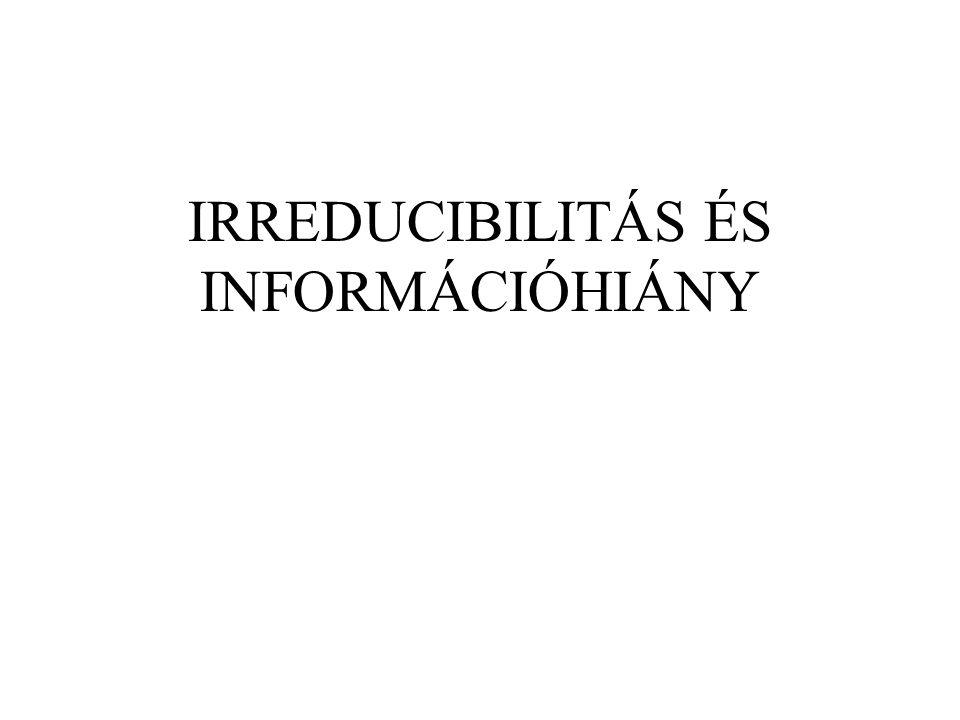 IRREDUCIBILITÁS ÉS INFORMÁCIÓHIÁNY
