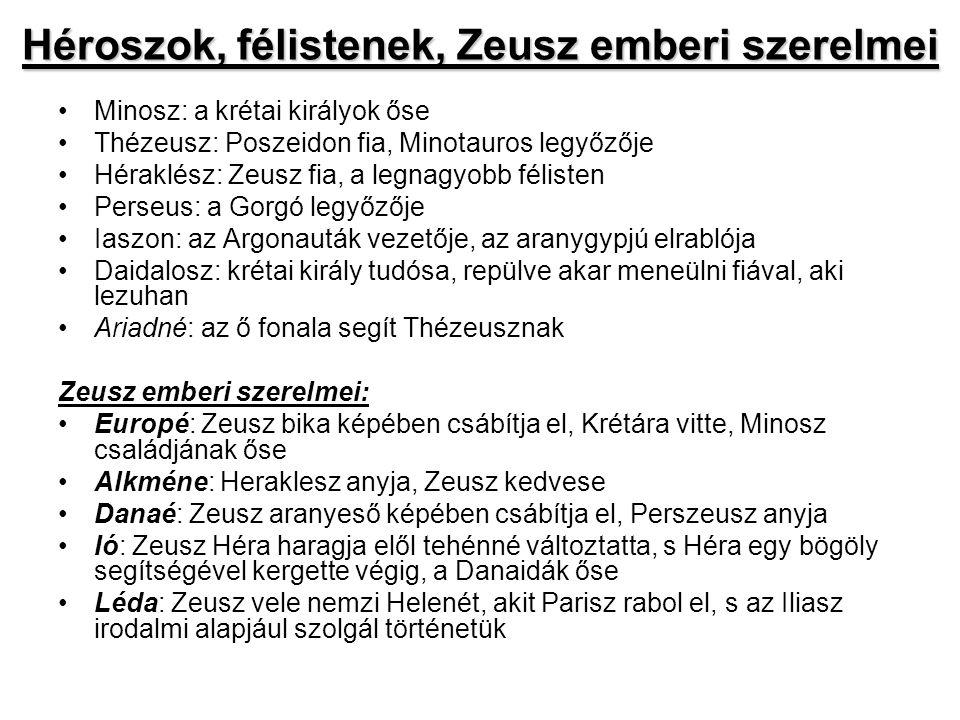 Héroszok, félistenek, Zeusz emberi szerelmei