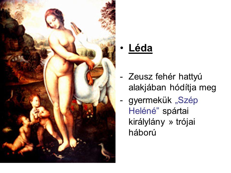 Léda Zeusz fehér hattyú alakjában hódítja meg