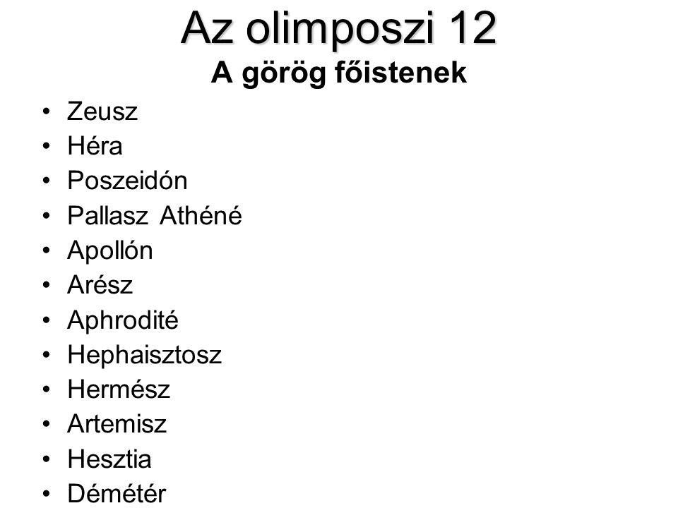 Az olimposzi 12 A görög főistenek