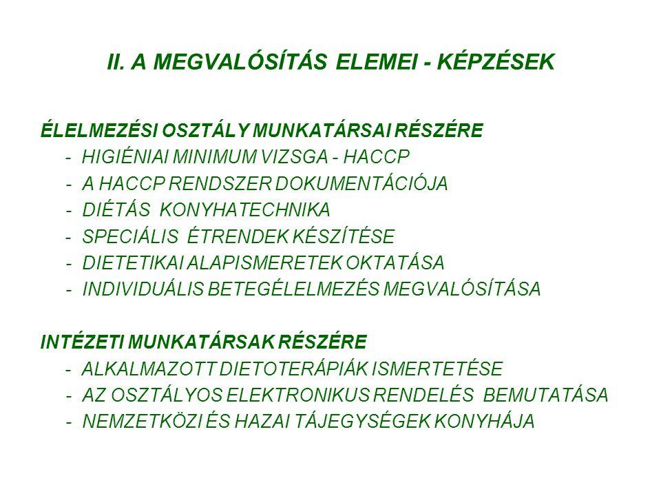 II. A MEGVALÓSÍTÁS ELEMEI - KÉPZÉSEK