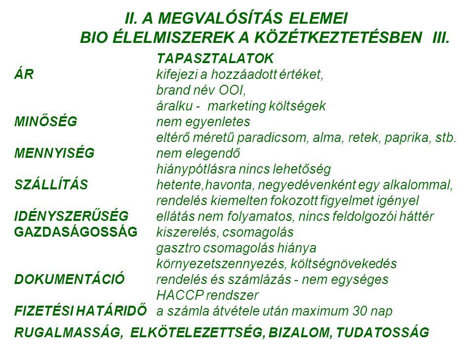 II. A MEGVALÓSÍTÁS ELEMEI BIO ÉLELMISZEREK A KÖZÉTKEZTETÉSBEN III.