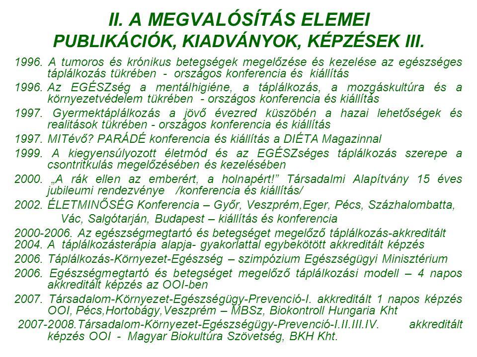 A MEGVALÓSÍTÁS ELEMEI PUBLIKÁCIÓK, KIADVÁNYOK, KÉPZÉSEK III.