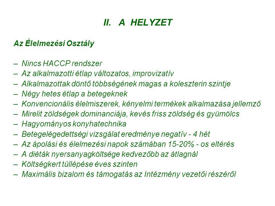 II. A HELYZET Az Élelmezési Osztály Nincs HACCP rendszer