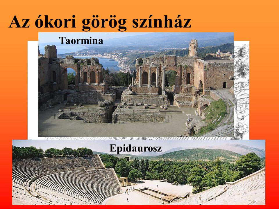 Az ókori görög színház Taormina szkéné orkésztra Epidaurosz