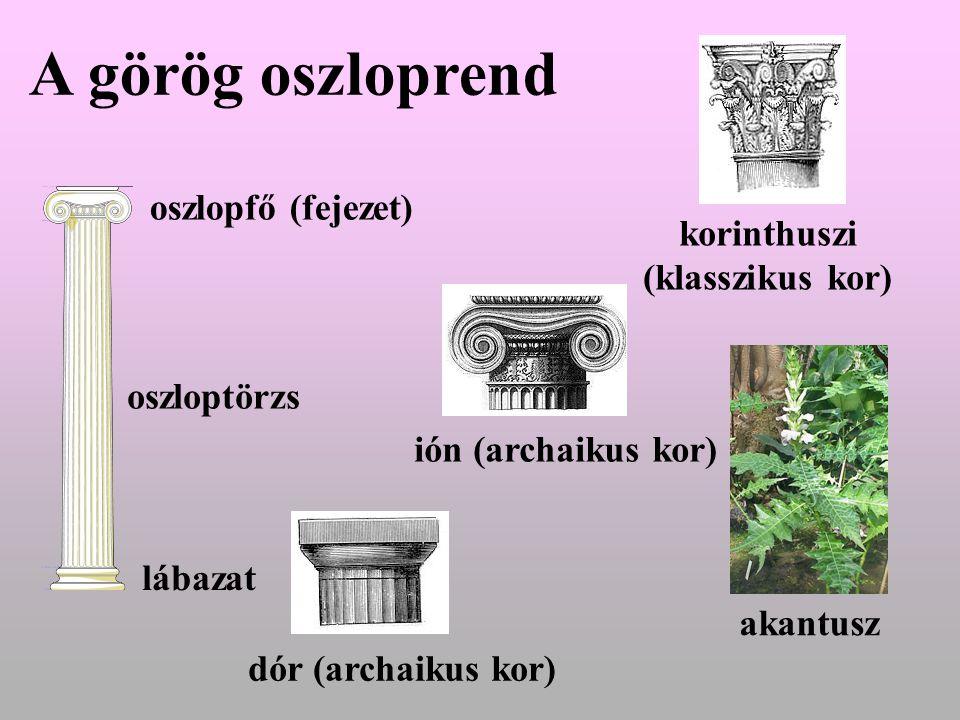 A görög oszloprend oszlopfő (fejezet) korinthuszi (klasszikus kor)