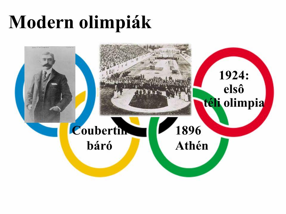 Modern olimpiák 1924: elsô téli olimpia Coubertin báró 1896 Athén