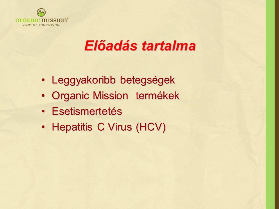 Előadás tartalma Leggyakoribb betegségek Organic Mission termékek