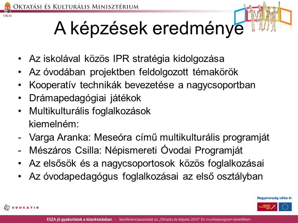 A képzések eredménye Az iskolával közös IPR stratégia kidolgozása
