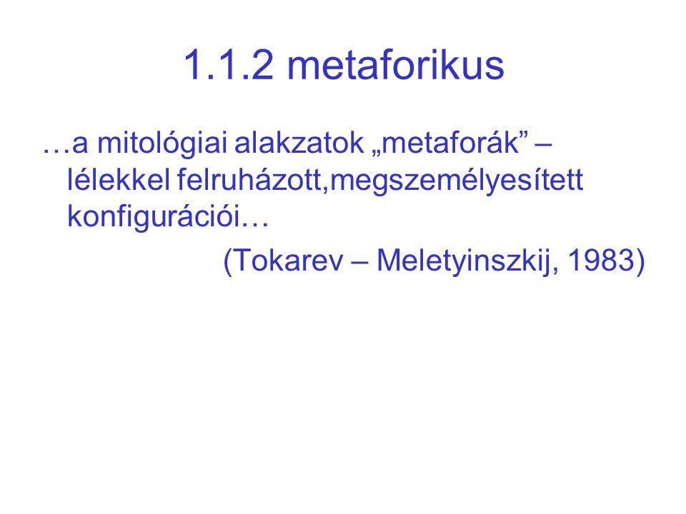 """1.1.2 metaforikus …a mitológiai alakzatok """"metaforák – lélekkel felruházott,megszemélyesített konfigurációi…"""