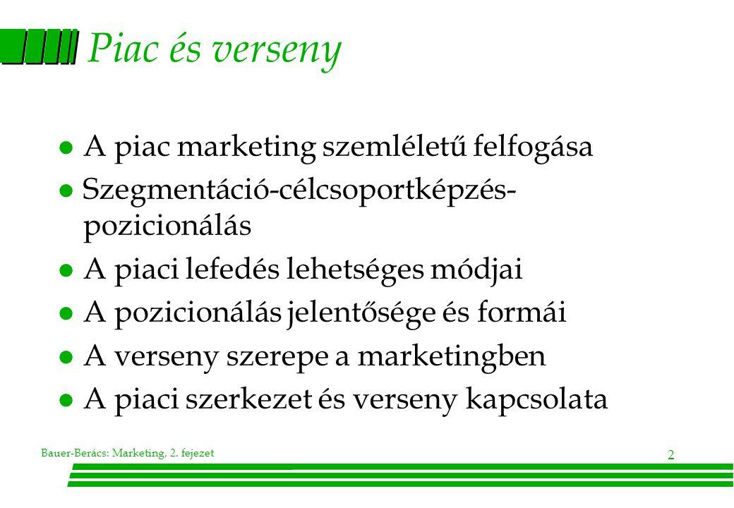 Piac és verseny A piac marketing szemléletű felfogása