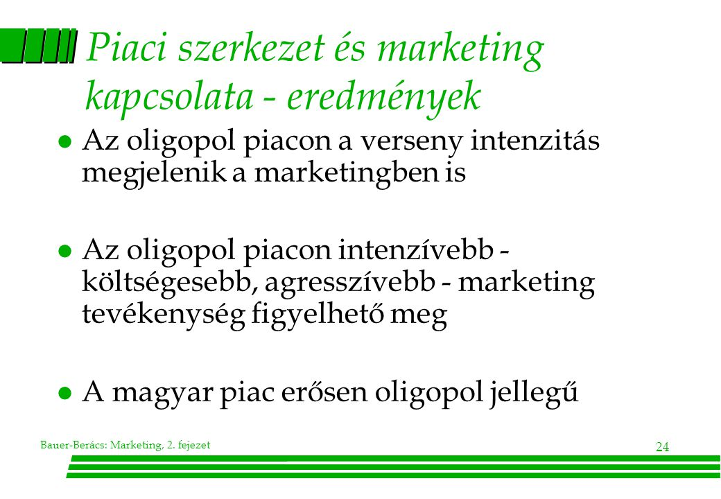 Piaci szerkezet és marketing kapcsolata - eredmények