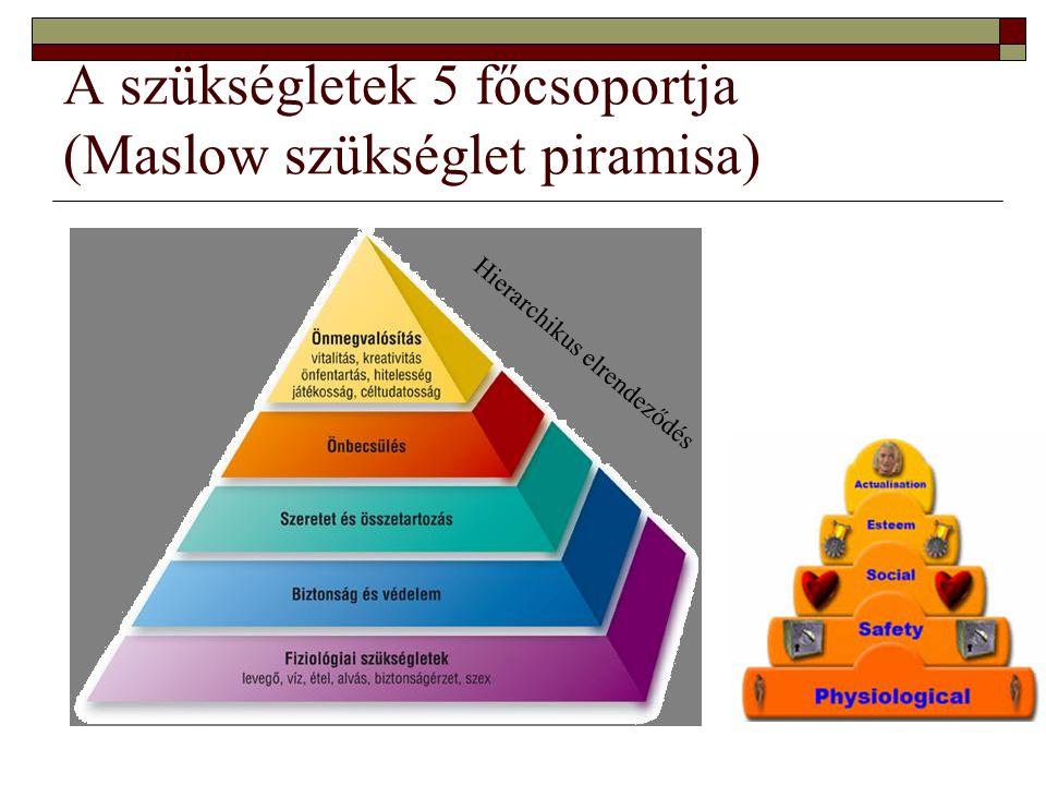 A szükségletek 5 főcsoportja (Maslow szükséglet piramisa)