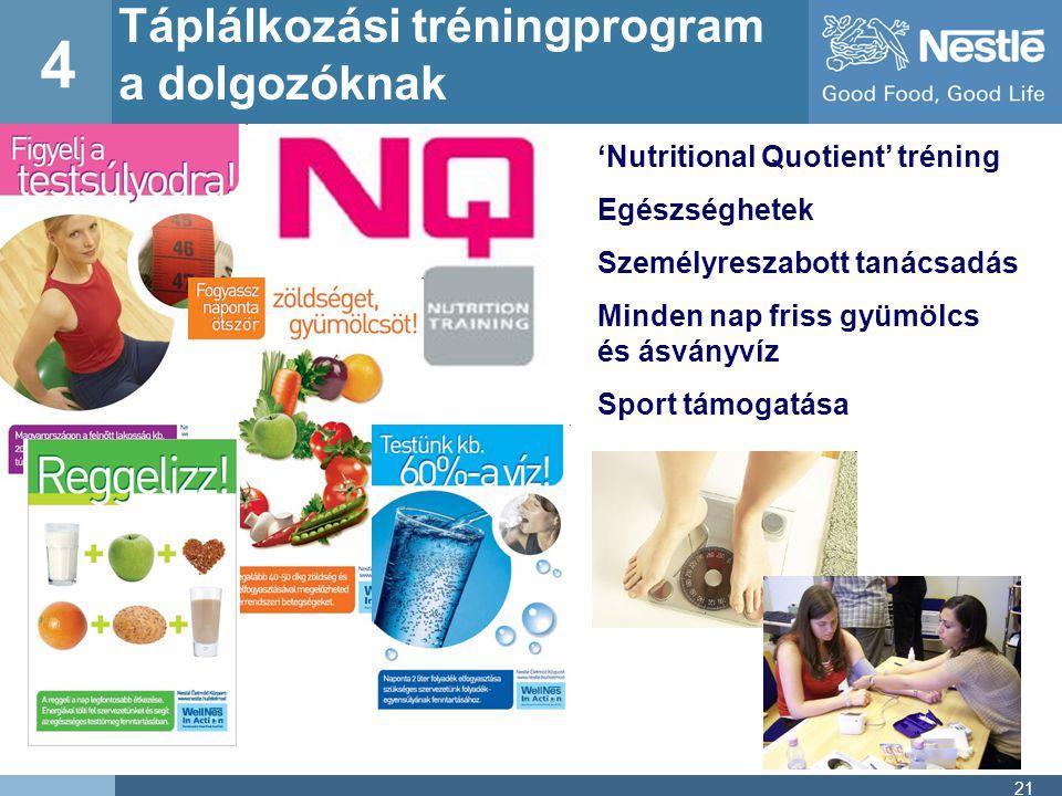 4 Táplálkozási tréningprogram a dolgozóknak
