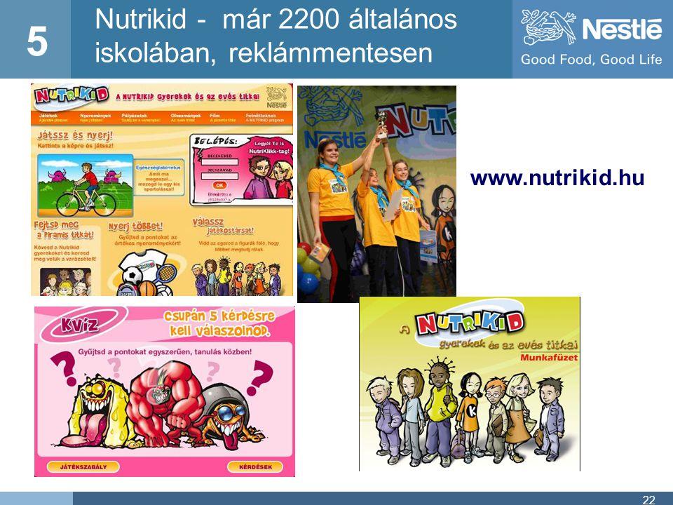 5 Nutrikid - már 2200 általános iskolában, reklámmentesen