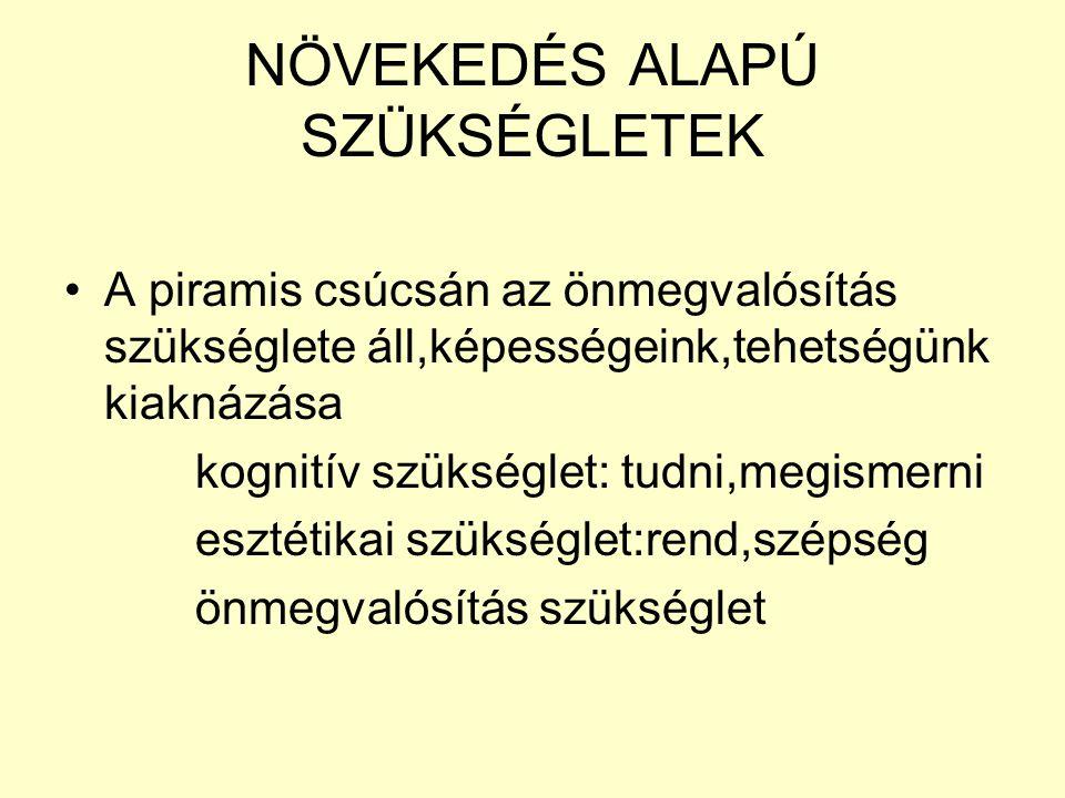 NÖVEKEDÉS ALAPÚ SZÜKSÉGLETEK