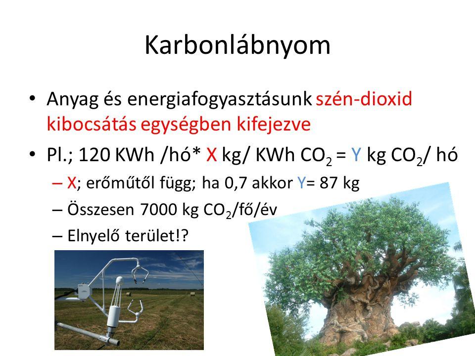 Karbonlábnyom Anyag és energiafogyasztásunk szén-dioxid kibocsátás egységben kifejezve. Pl.; 120 KWh /hó* X kg/ KWh CO2 = Y kg CO2/ hó.