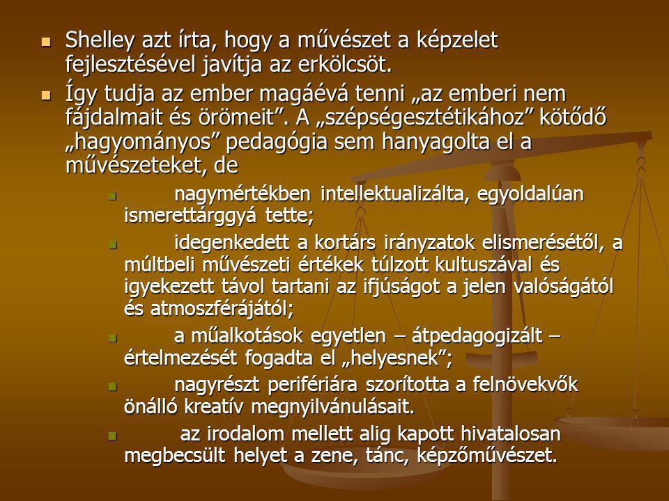 Shelley azt írta, hogy a művészet a képzelet fejlesztésével javítja az erkölcsöt.