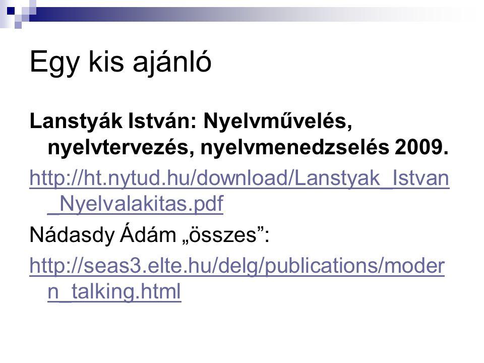 Egy kis ajánló Lanstyák István: Nyelvművelés, nyelvtervezés, nyelvmenedzselés 2009. http://ht.nytud.hu/download/Lanstyak_Istvan_Nyelvalakitas.pdf.
