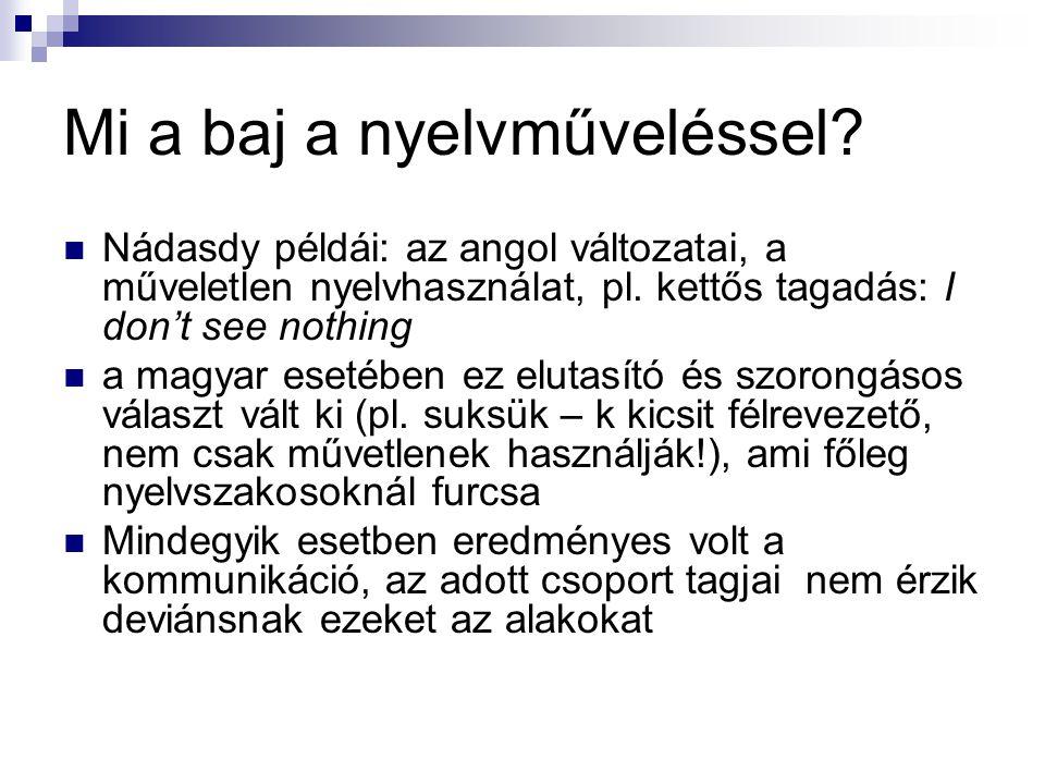 Mi a baj a nyelvműveléssel