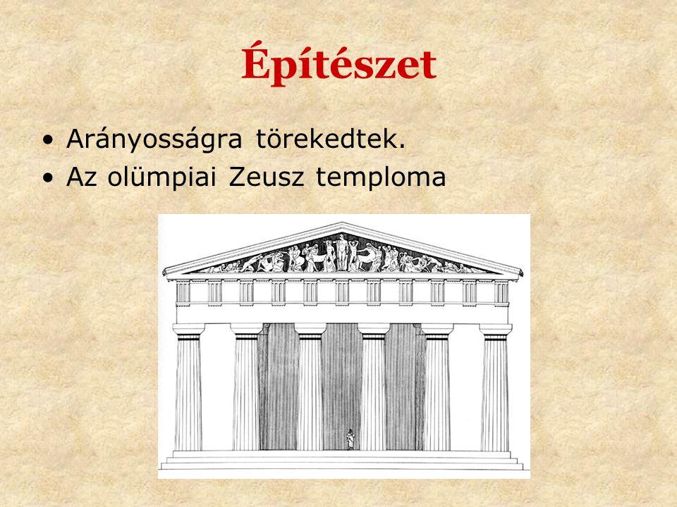 Építészet Arányosságra törekedtek. Az olümpiai Zeusz temploma