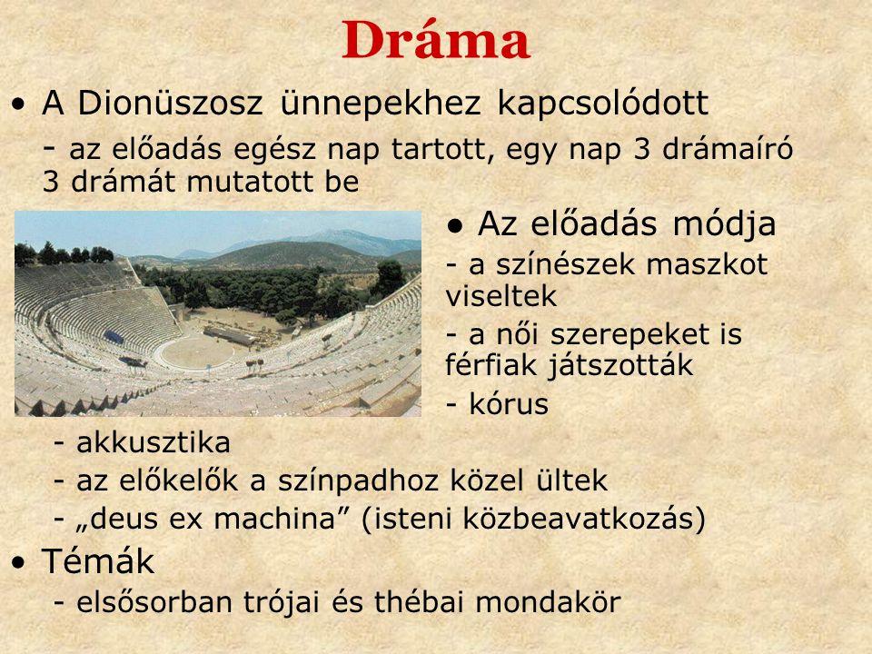 Dráma A Dionüszosz ünnepekhez kapcsolódott