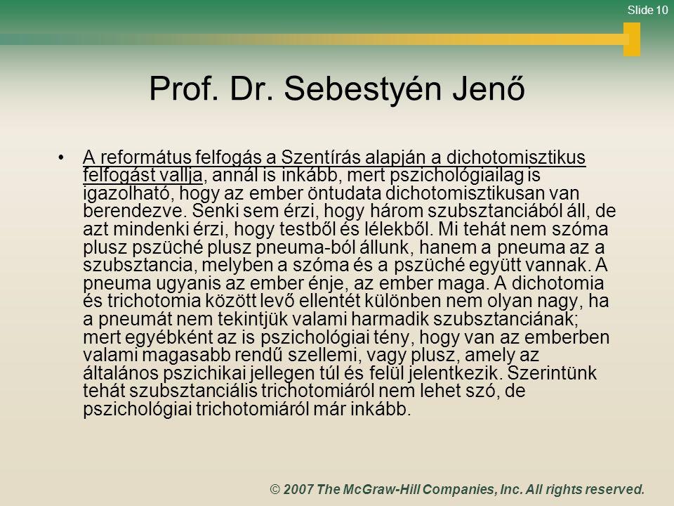 Prof. Dr. Sebestyén Jenő
