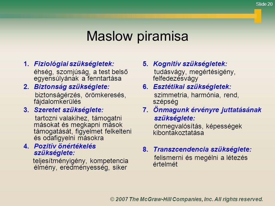 Maslow piramisa 1. Fiziológiai szükségletek: