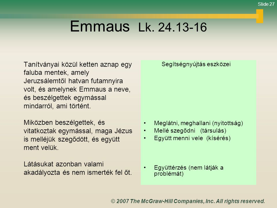 Emmaus Lk. 24.13-16 Tanítványai közül ketten aznap egy