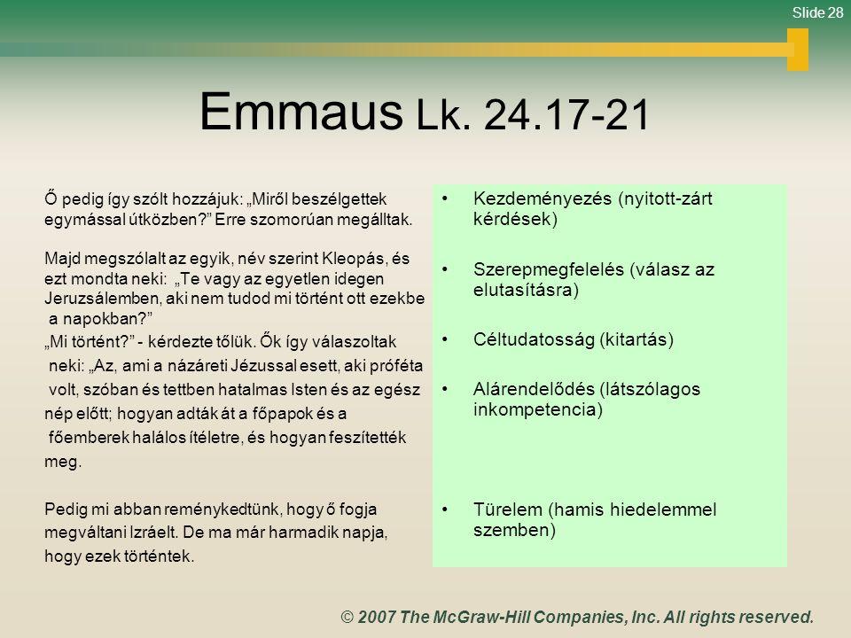 Emmaus Lk. 24.17-21 Kezdeményezés (nyitott-zárt kérdések)