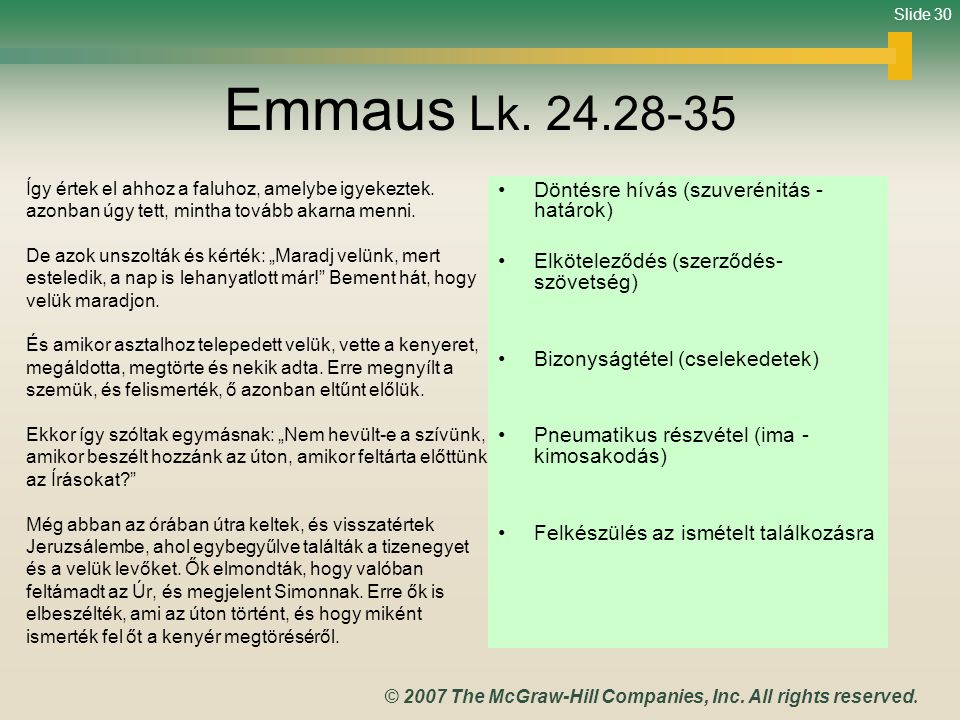 Emmaus Lk. 24.28-35 Döntésre hívás (szuverénitás - határok)