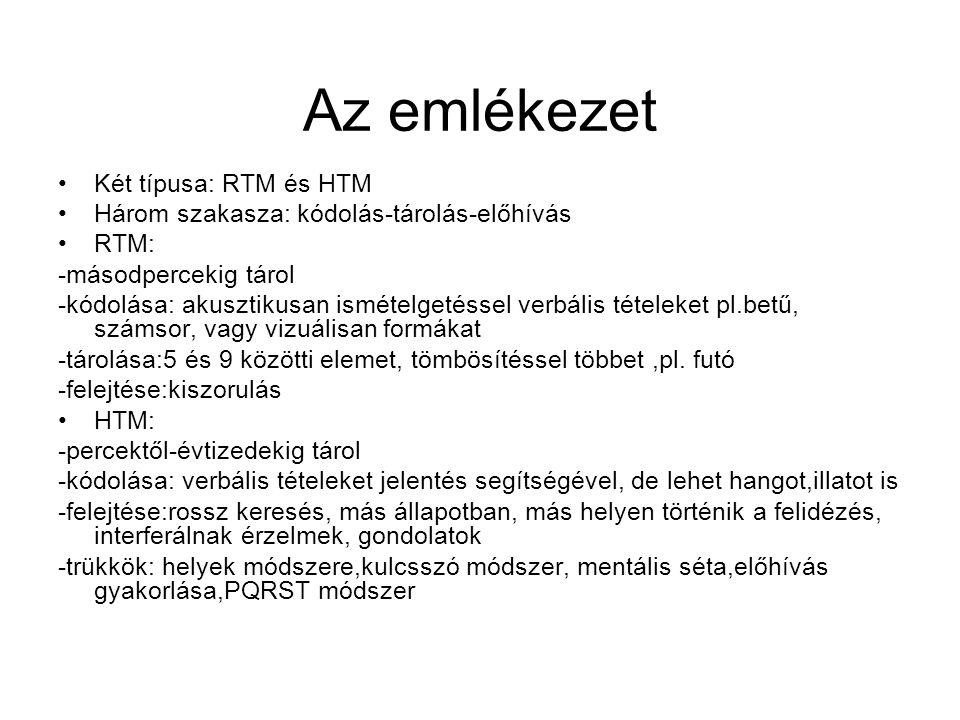 Az emlékezet Két típusa: RTM és HTM