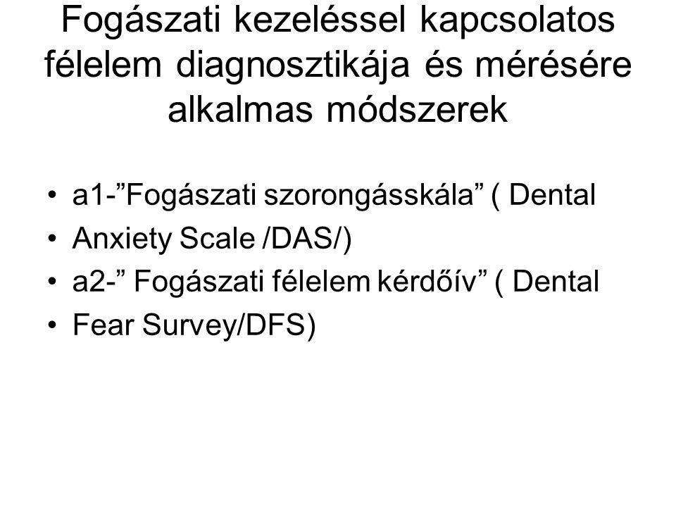 Fogászati kezeléssel kapcsolatos félelem diagnosztikája és mérésére alkalmas módszerek