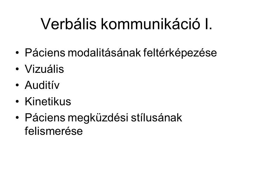 Verbális kommunikáció I.