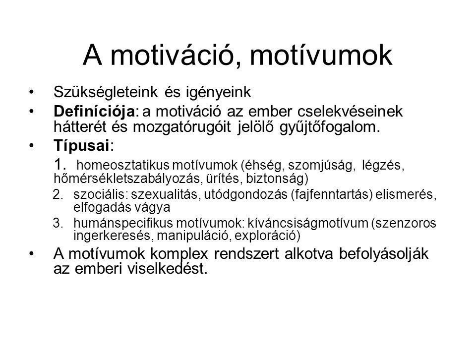 A motiváció, motívumok Szükségleteink és igényeink