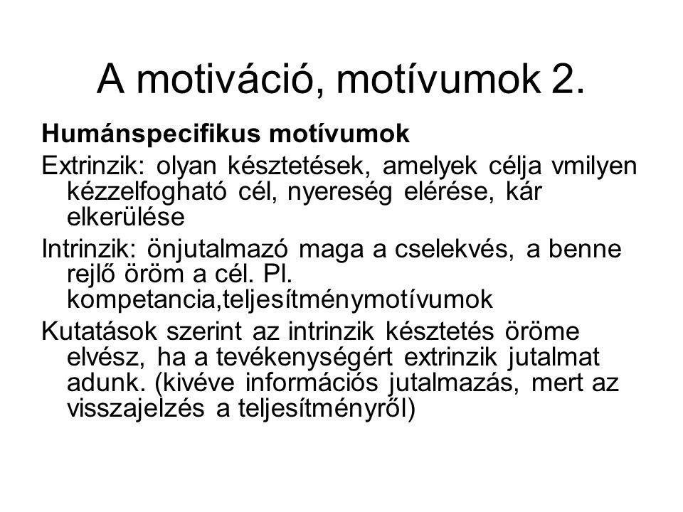 A motiváció, motívumok 2. Humánspecifikus motívumok