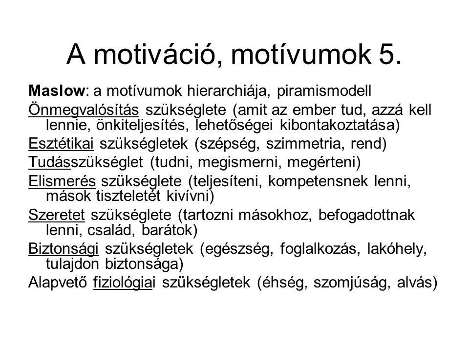 A motiváció, motívumok 5. Maslow: a motívumok hierarchiája, piramismodell.