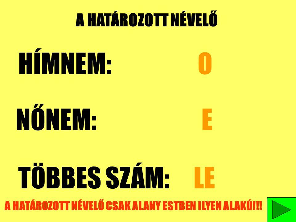 A HATÁROZOTT NÉVELŐ CSAK ALANY ESTBEN ILYEN ALAKÚ!!!