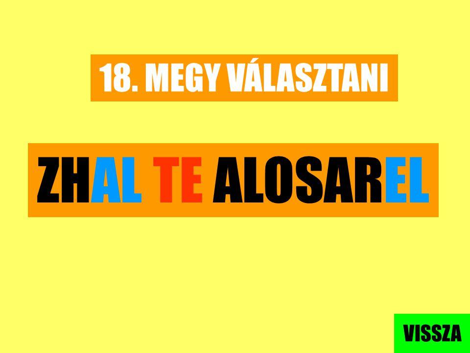 18. MEGY VÁLASZTANI ZHAL TE ALOSAREL VISSZA