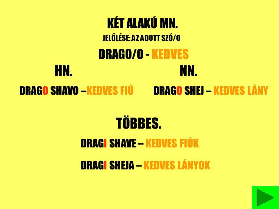 HN. NN. TÖBBES. KÉT ALAKÚ MN. DRAGO/O - KEDVES DRAGO SHAVO –KEDVES FIÚ